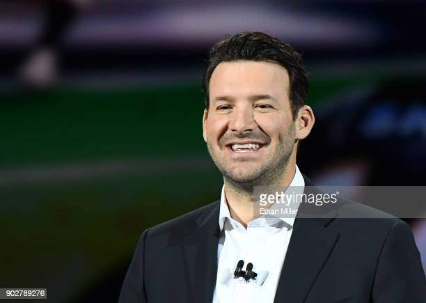 CBS sports analyst Tony Romo speaks during a keynote address by Intel Corp CEO Brian Krzanich at CES 2018 at Park Theater at Monte Carlo Resort and...