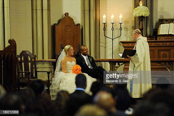 ESPN sports anchor Lindsay Czarniak and MSNBC anchor and NBC News correspondent Craig Melvin get married at the Church of the Holy City on October 15...