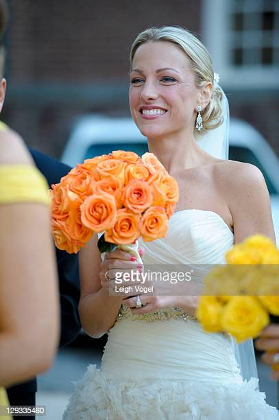 ESPN sports anchor Lindsay Czarniak is seen outside of the church on her wedding day on October 15 2011 in Washington DC