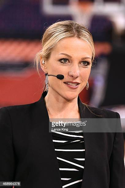 ESPN sports anchor Lindsay Czarniak reports from the court prior to the game between the Wisconsin Badgers and the Duke Blue Devils during the NCAA...