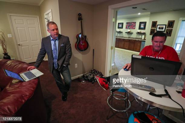 Sports Anchor/Reporter Pete Gilbert prepares watches WBAL Chief Sports Photographer Jim Forner edit his report on the 2020 NFL Free Agency and the...