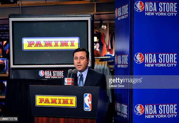 Sports announcer Ian Eagle makes opening remarks announcing Panini America's partnership with the NBA during a press conference at the NBA Store June...