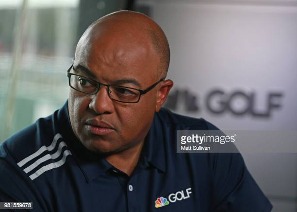 Sports announcers Mike Tirico and Frank Nobilo talk during the second round of the Travelers Championship at TPC River Highlands on June 22, 2018 in...