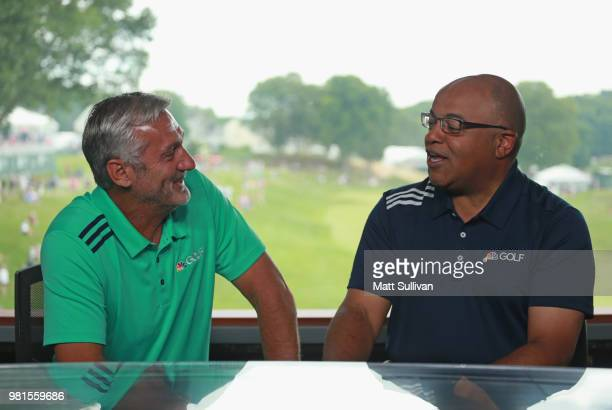 NBC sports announcers Mike Tirico and Frank Nobilo talk during the second round of the Travelers Championship at TPC River Highlands on June 22 2018...