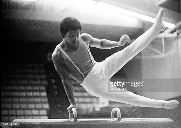 sports artistic gymnastics competition 1974 Oberhausen versus Bayer Leverkusen pommel horse gymnast Hirata man aged 20 to 25 years DOberhausen Ruhr...