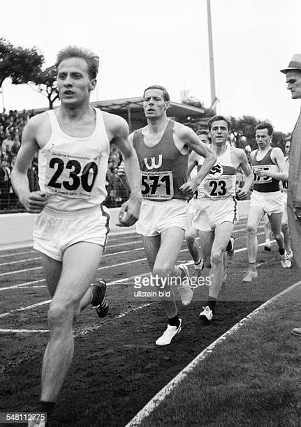 sports athletics German Championships in Athletics 1965 in Duisburg Wedau Stadium nowadays MSV Arena track racing long distance men Guenter Bretag of...