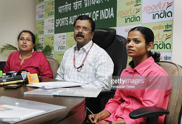 Sports Authority of India Jiji Thomson along with Dr Payoshini Mitra and Indian sprinter Dutee Chand addressing the media persons at SAI office on...