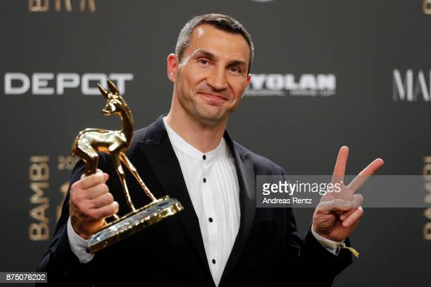 'Sports' award winner Wladimir Klitschko poses at the Bambi Awards 2017 winners board at Stage Theater on November 16 2017 in Berlin Germany