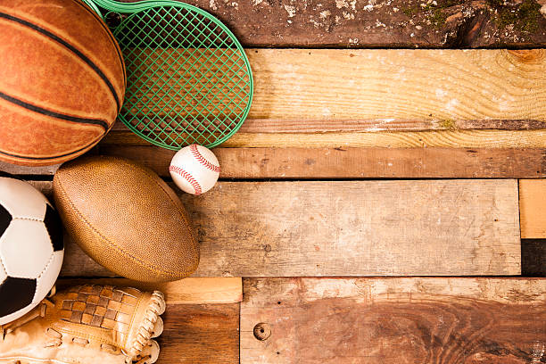 Baseball On Field Sports Background Equipment Unique Wooden Boards