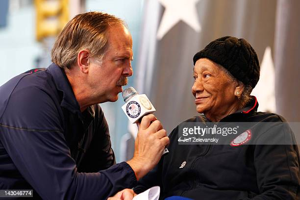 Sports Broadcaster Jon Naber speaks to 1948 Olympic gold medalist Alice Coachman during the Team USA Road to London 100 Days Out Celebration in Times...