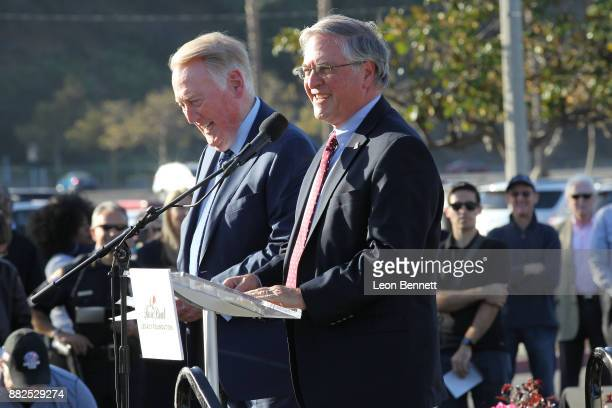 Sports broadcaster Vin Scully and Mayor of Pasadena Terry Tornek attend as the Rose Bowl Legacy Foundation hosts the dedication of the Jackie...