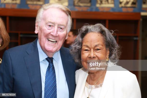 Sports broadcaster Vin Scully and Rachel Robinson wife of Jackie Robinson attend as the Rose Bowl Legacy Foundation hosts the dedication of the...