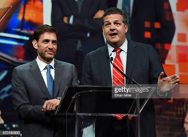 Sports broadcasters Mike Greenberg and Mike Golic hosts of ESPN Radio's 'Mike Mike' show speak as they are inducted into the National Association of...