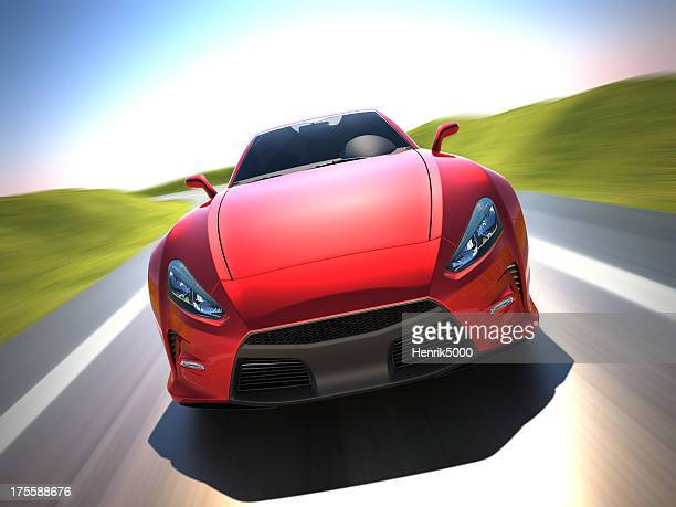 Sports car driving in the countryside