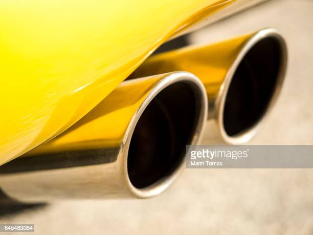 Sports car exhaust system pipes