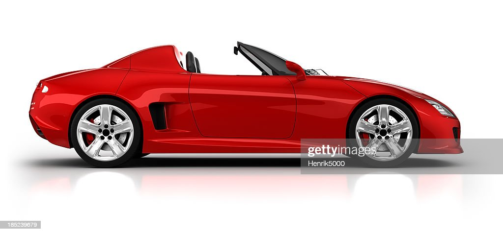 Sports car in studio, side view - isolated/clipping path : Stock Photo