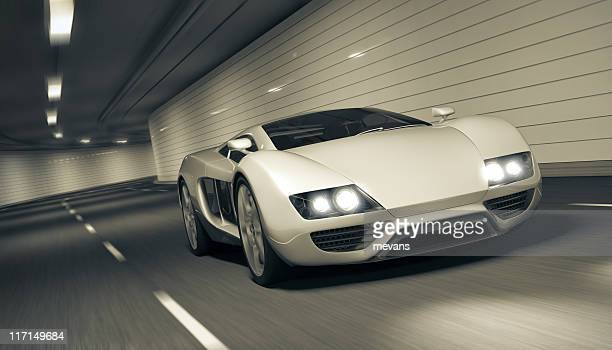 sports car in tunnel - smart car stock photos and pictures