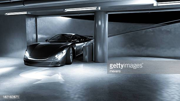Sports Car in Underground Carpark