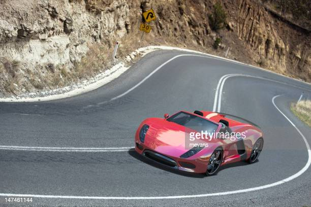 Sports Car on a Winding Road.