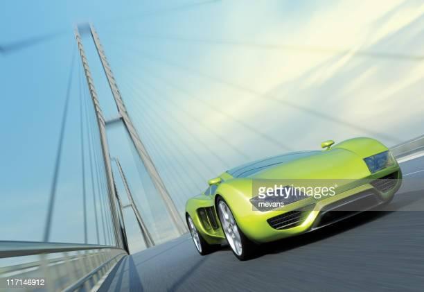 Sports Car on Bridge