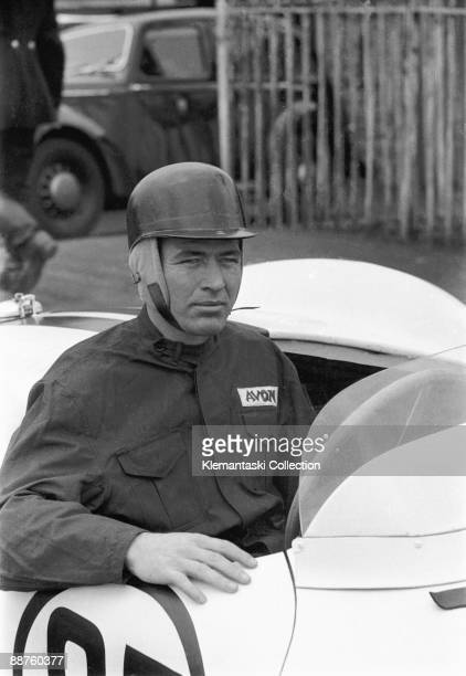 Sports Car Race Aintree May 29 1954 A lovely portrait of Carroll Shelby in the Aston Martin DB3S which he will drive in the sports car race