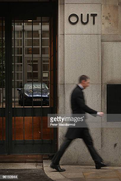 A sports car sits in the front entrance to the Goldman Sachs building in Fleet Street on January 25 2010 in London The top 100 partners at Goldman...