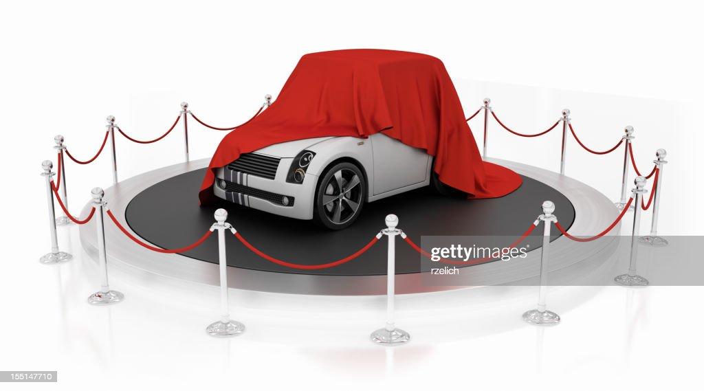 Sports car unveiling on the podium : Bildbanksbilder