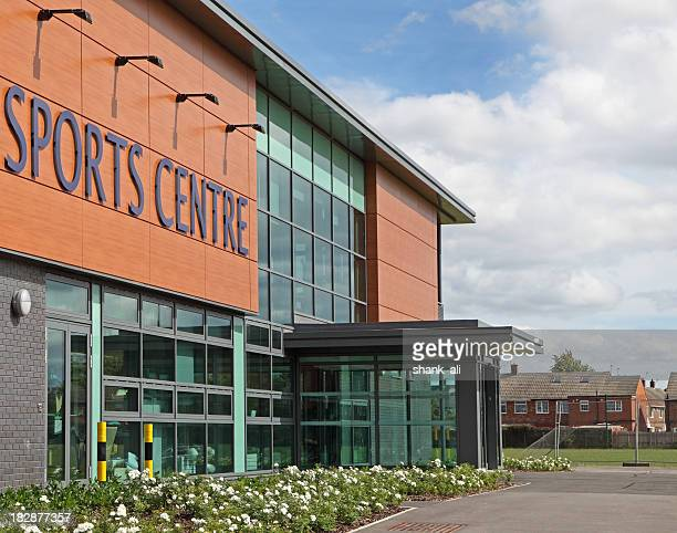 sports centre - building entrance stock pictures, royalty-free photos & images