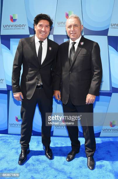 Sports Commentator and former professional soccer player Ivan Zamorano attends the 2017 Univision Upfront at the Lyric Theatre on May 16 2017 in New...