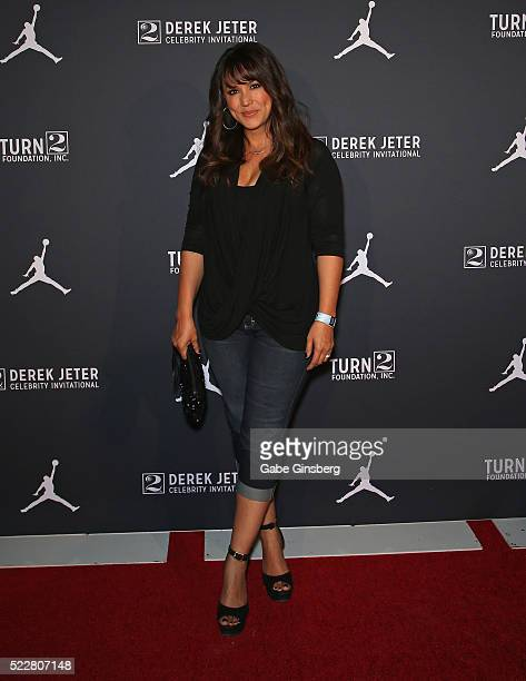 Sports commentator and model Leeann Tweeden arrives at the kickoff of the Derek Jeter Celebrity Invitational at the Liquid Pool Lounge at the Aria...