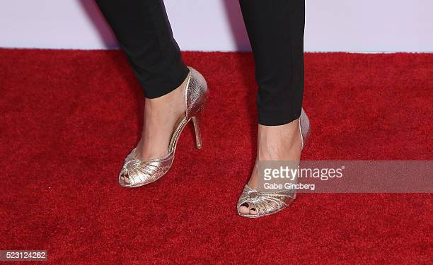 Sports commentator and model Leeann Tweeden shoes detail attends the Derek Jeter Celebrity Invitational gala at the Aria Resort Casino on April 21...