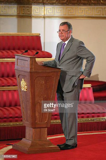 Sports commentator Clive Tyldesley addresses an audience in the Ballroom of Buckingham Palace at an event to honour The FA's 150 Grassroots Heroes on...