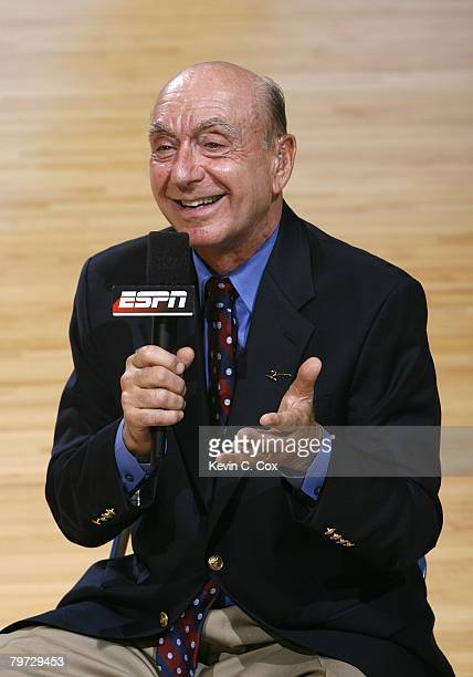 Sports commentator Dick Vitale reports before the game between the North Carolina Tar Heels and the Duke Blue Devils at the Dean E. Smith Center on...
