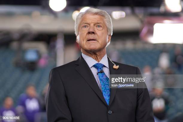 Sports commentator Jimmy Johnson looks on prior to the start of the NFC Championship Game between the Minnesota Vikings and the Philadelphia Eagles...