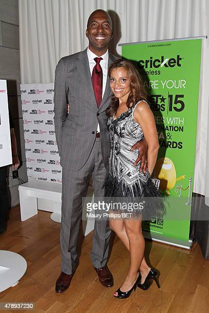 Sports commentator John Salley and Natasha Duffy attend the Cricket green lounge during the 2015 BET Awards at the Microsoft Theater on June 28 2015...