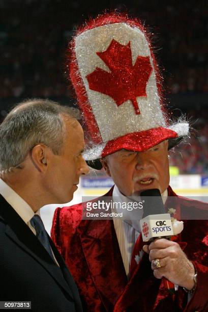 Sports commentators Ron McLean and Don Cherry comment before Game six of the NHL Stanley Cup Finals between the the Tampa Bay Lightning and the...