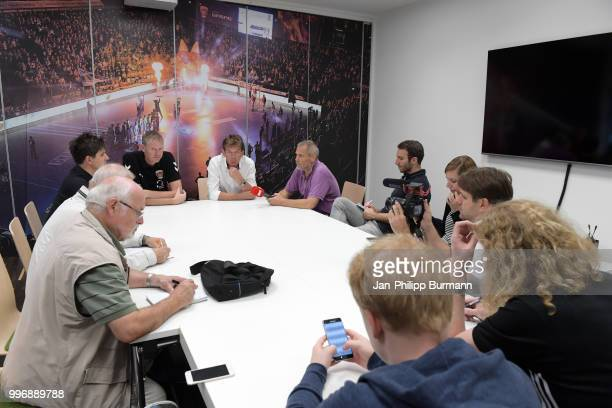 Sports coordinator Volker Zerbe and coach Velimir Petkovic of Fuechse Berlin speaks with the journalists during the media talk at FuechseTown on july...