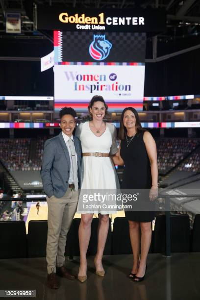 Sports coverage team Layshia Clarendon, Katie Hunter and Krista Blunk pose for a photo before the the game between the Sacramento Kings and the...