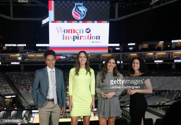 Sports coverage team , Layshia Clarendon, Laura Britt, Morgan Ragan and Sophia Jones pose for a photo before the the game between the Sacramento...
