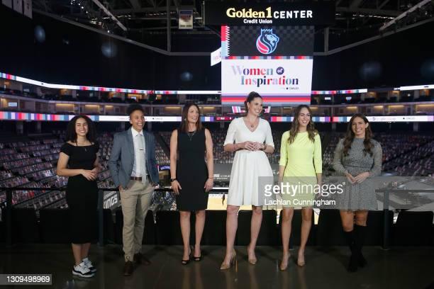 Sports coverage team Sophia Jones, Layshia Clarendon, Krista Blunk, Katie Hunter, Laura Britt and Morgan Ragan pose for a photo before the the game...