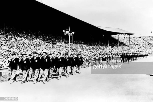 Sports delegation parade during the opening ceremony of the London 1948 Summer Olympic Games, on July 26, 1948 at Wembley stadium in London.