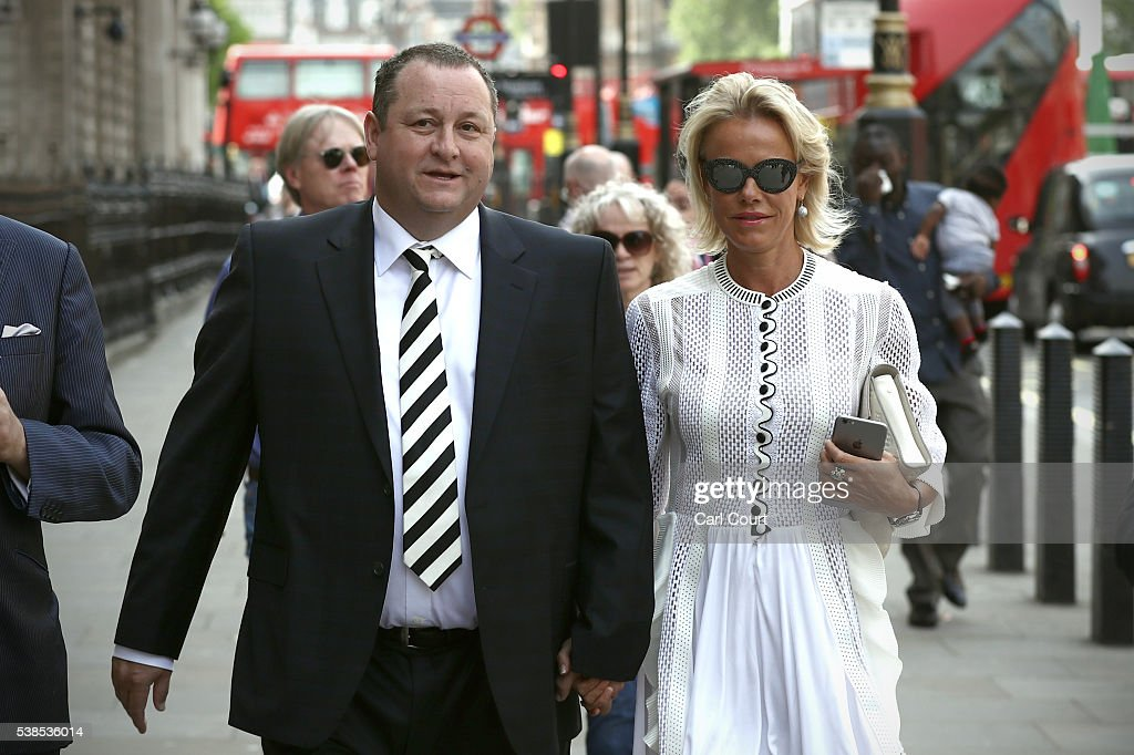 Sports Direct International founder Mike Ashley and his wife Linda arrive to attend a select committee hearing at Portcullis house on June 7, 2016 in London, England. Mike Ashley is to face the Business, Innovations and Skills Parliamentary Select Committee on working practices at his Sports Direct Shirebrook Warehouse in Derbyshire. In a letter to his staff he admitted that the centre needed 'improvements' after investigations found that staff had been paid less than the minimum wage and ambulances had been called to the complex 76 times in two years as staff were 'too scared' to call in sick.