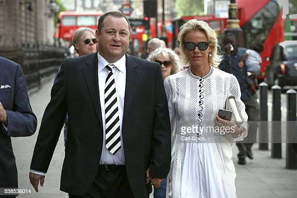 Sports Direct International founder Mike Ashley and his wife Linda arrive to attend a select committee hearing at Portcullis house on June 7 2016 in...