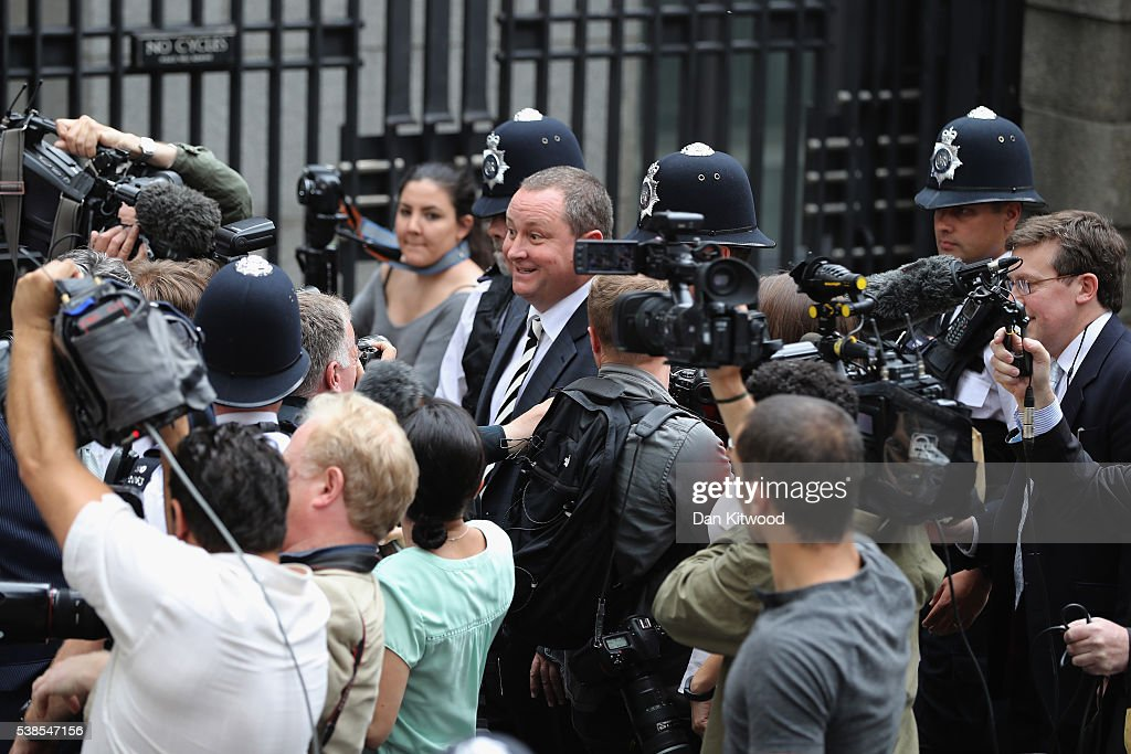 Sports Direct International founder Mike Ashley leaves Portcullis House after attending a Parliamentary select committee hearing on June 7, 2016 in London, England. Mike Ashley is to face the Business, Innovations and Skills committee on working practices at his Sports Direct Shirebrook Warehouse in Derbyshire. In a letter to his staff he admitted that the centre needed 'improvements' after investigations found that staff had been paid less than the minimum wage and ambulances had been called to the complex 76 times in two years as staff were 'too scared' to call in sick.