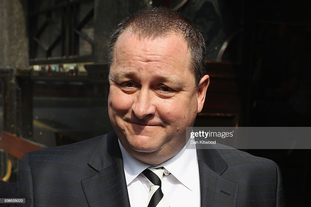 Sports Direct International founder Mike Ashley leaves the Red Lion pub in Westminster to attend a Parliamentary select committee hearing at Portcullis house on June 7, 2016 in London, England. Mike Ashley is to face the Business, Innovations and Skills committee on working practices at his Sports Direct Shirebrook Warehouse in Derbyshire. In a letter to his staff he admitted that the centre needed 'improvements' after investigations found that staff had been paid less than the minimum wage and ambulances had been called to the complex 76 times in two years as staff were 'too scared' to call in sick.