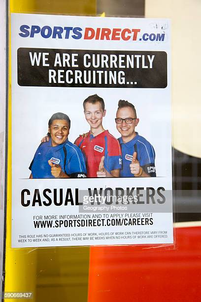Sports Direct shop employment poster recruiting casual workers England UK