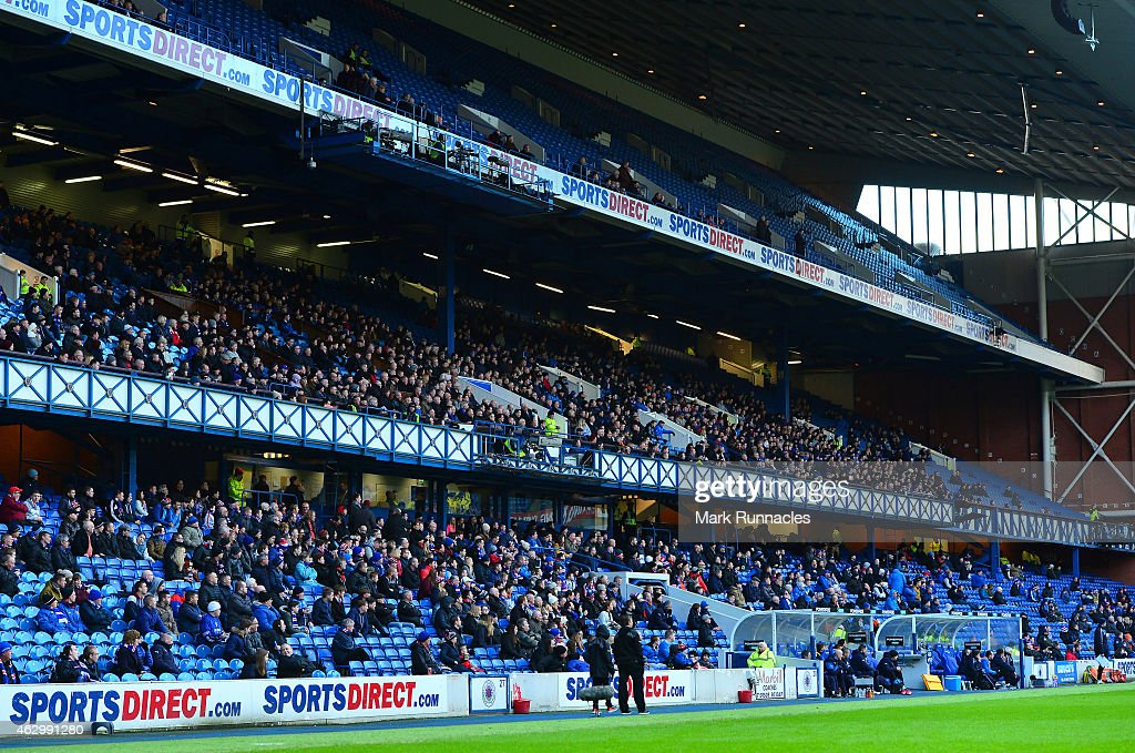 Sports Direct signage on show at Ibrox stadium during the William Hill Scottish Cup Fifth Round match between Rangers and Raith Rovers on February 8, 2015 in Glasgow Scotland.