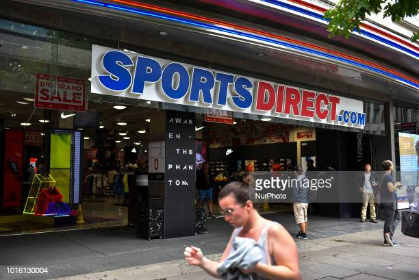 A Sports Direct store is pictured in Central London on August 13 2018 British sportswear retailer Sports Direct has acquired the business and assets...