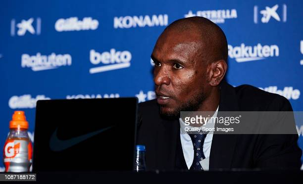 Sports director Eric Abidal during a press conference to unveil FC Barcelona's new player Jeison Murillo at Nou Camp on December 27 2018 in Barcelona...