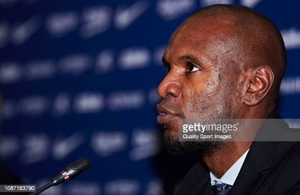 Sports director Eric Abidal during the press conference of Jeison Murillo as new player of FC Barcelona at Nou Camp on December 27 2018 in Barcelona...